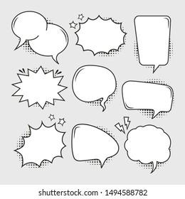 Empty blank comic bubbles set