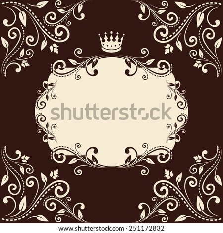 Empty Blank Floral Frame Crown Design Stock Vector Royalty Free