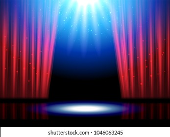Empty or blank interior scene with lights. Theater or theatre illuminated stage, opera entrance with sparkle. Curtains with spotlight for night broadway show at cabaret. Entertainment and art theme
