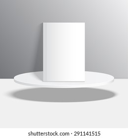 Empty blank oval hovering on the podium. Vector pedestal.