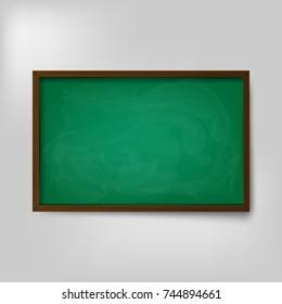 Empty blank school green chalkboard isolated on white background. Vector illustration. Eps 10.