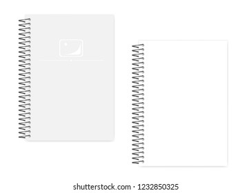 Empty blank spiral notebook with side perforation white clear sheets, realistic vector mockup. Wire bound A5 notepad, template