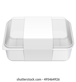 Empty Blank Styrofoam Plastic Food Tray Container Box With Lid, Cover, Lable. Illustration Isolated On White Background. Mock Up Template Ready For Your Design. Vector EPS10