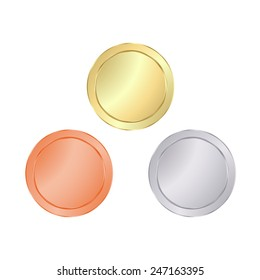 Empty Blank vector templates for coin, price tags, sewing buttons, buttons, icons or medals with gold, silver, bronze shiny metal texture