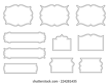Empty Blank Vintage Frame Set Romantic Old Style Calligraphic Design Elements Outlined