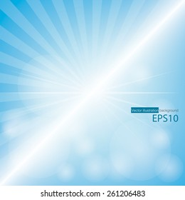 Empty Blue Color Background With Sunburst at the left side. for sample text and editable background.