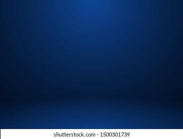 Empty blue color studio room background