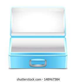 Empty blue lunch box on white background
