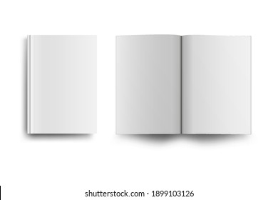 Empty book or magazine mack up isolated on white background. Vector illustration.