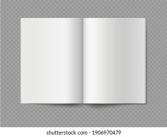 Empty book mockup. Opened 3d realistic booklet or brochure soft cover, album or catalog, journal or magazine template, blank white paper sheets, vector single object isolated on transparent background