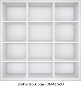 Empty bookshelf.  Vector Illustration