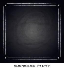 Empty border on blackboard chalkboard background. Vector illustration