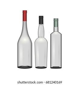 empty bottles realistic set vector illustration
