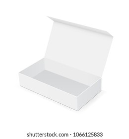 Empty box with open lid isolated on white background. Display your design on this mock up. Vector illustration