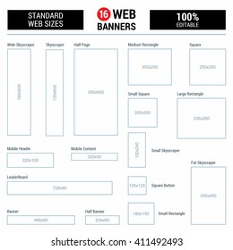 Empty Box Standard size web banners set. Vector Web Banners