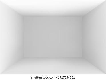 Empty box top view. White studio interior background. Vector