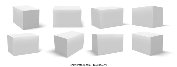 Empty boxes for packaging. Empty corton or glossy mock up. Cube in perspective from different angles. Realistic 3D mockups illustration isolated on white background.