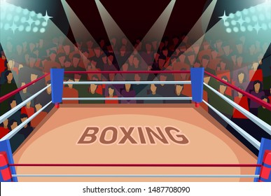 Empty boxing arena flat vector illustration. Professional sports entertainment banner. Fight night, martial arts contest, single combat competition. Ring in spotlights and viewers, action fans