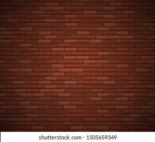 Empty Brick Wall Surface. Old Red Brick Wall Background. Urban Wall Texture. Vector Illustration