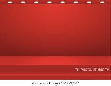 Empty bright color studio table, banner for advertising. Vector illustration .tv studio.