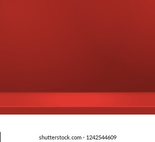 Empty bright color studio table, banner for advertising. Vector illustration