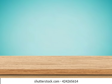 Empty brown wooden table and blue wall, Use as product display montage - Vector