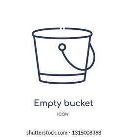 empty bucket icon from shapes outline collection. Thin line empty bucket icon isolated on white background.
