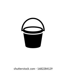 Empty bucket vector icon in black solid flat design icon isolated on white background