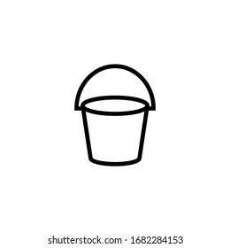 Empty bucket vector icon in linear, outline icon isolated on white background