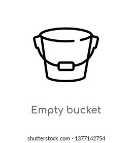 empty bucket vector line icon. Simple element illustration. empty bucket outline icon from shapes concept. Can be used for web and mobile