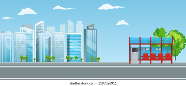 Empty Bus Stop with City Skyline Flat Design Style.