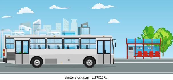 Empty Bus Stop and Bus with City Skyline Flat Design Style.