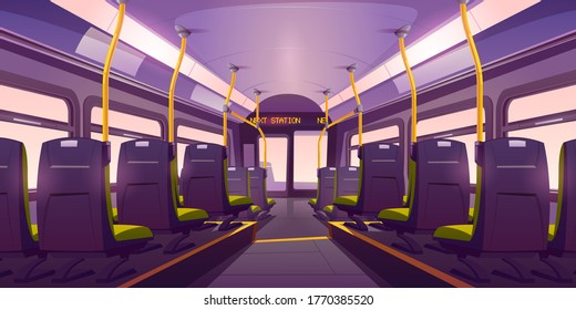 Empty bus or train interior with chairs, handrails and windows. Vector cartoon cabin of passenger carriage transport with comfortable seats and digital display back view