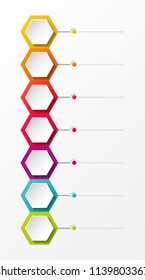 Empty business infograph with hexagons. Vector.