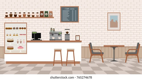 Empty cafe interior with bar stand,table and armchairs. Flat design vector illustration