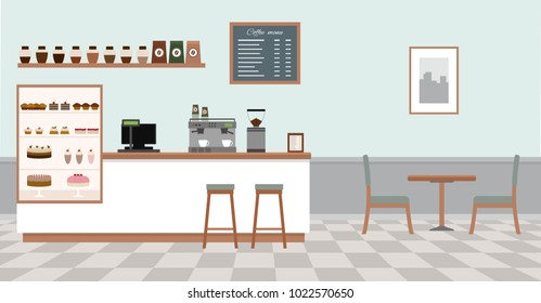 Empty cafe interior. Coffee shop with white bar counter, table and chairs.  Flat design vector illustration