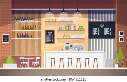 Empty cafe interior. Modern Cafe. Interior Restaurant. Flat design vector illustration