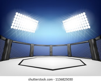 Empty Cage martial arts fighting arena stage with black style and blue background:mma