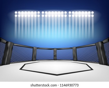 Empty Cage martial arts fighting arena stage with spotlight style and blue blackground:mma