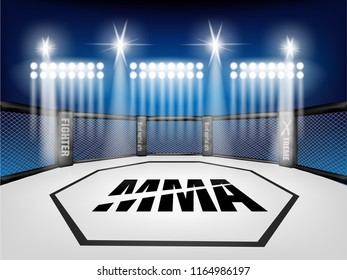 Empty Cage martial arts fighting arena stage with Lighting style:mma