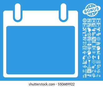 Empty Calendar Leaf pictograph with bonus calendar and time management pictograms. Vector illustration style is flat iconic symbols, white, blue background.