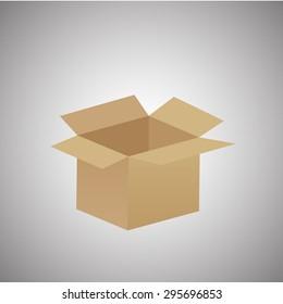 empty cardboard box opened isolated on grey background - eps10. vector illustration