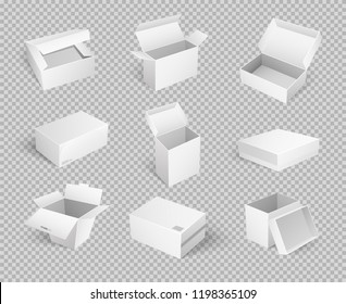 Empty cardboard cartoon containers isolated on transparent. Set of vector boxes for delivering goods and food transportation, takeaway packages icons