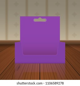 Empty Cardboard or visit card display box with hole to hang up mockup with front viewpoint on wood floor. Vector Realistic drawing.