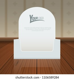 Empty Cardboard or visit card display box mockup with front viewpoint on wood floor. Vector Realistic drawing.