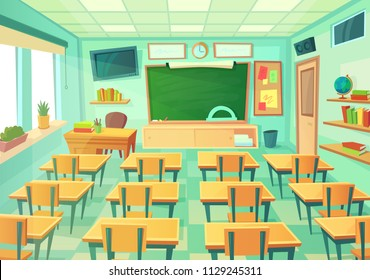 Empty cartoon classroom. School exam room with elementary class chalkboard and blackboard desks lesson college supplies students. Modern mathematical classrooms table interior vector illustration