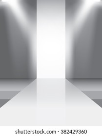Empty catwalk, fashion runway illuminated vector illustration