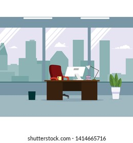 Empty ceo office interior.vector illustration