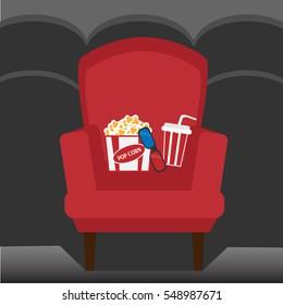 Empty chair inside movie cinema