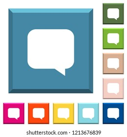 Empty chat bubble white icons on edged square buttons in various trendy colors